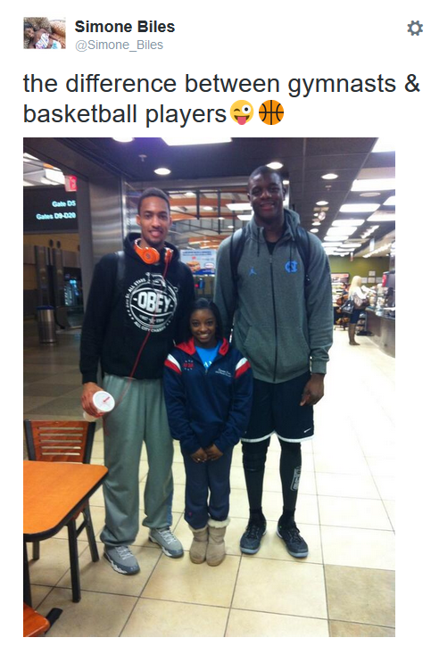 simone biles and basketball players