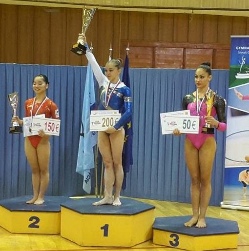 Stupně vítězů, juniorky. Zdroj: Facebook ČGF